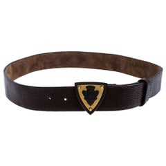 Gucci Dark Brown Leather Hysteria Crest Buckle Belt 100CM