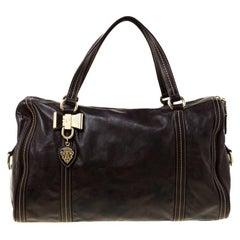 Gucci Dark Brown Leather Large Duchessa Boston Bag