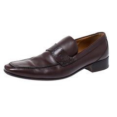 Gucci Dark Brown Leather Loafers Size 42.5