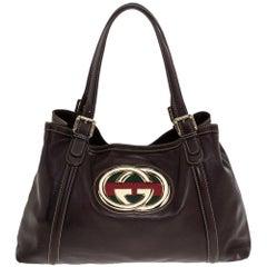 Gucci Dark Brown Leather Medium GG Britt Tote