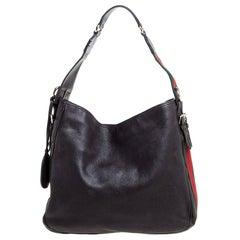 Gucci Dark Brown Leather Medium Heritage Web Hobo