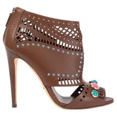 GUCCI dark brown leather STONE STUDDED PERFORATED OPEN TOE Booties Shoes 39