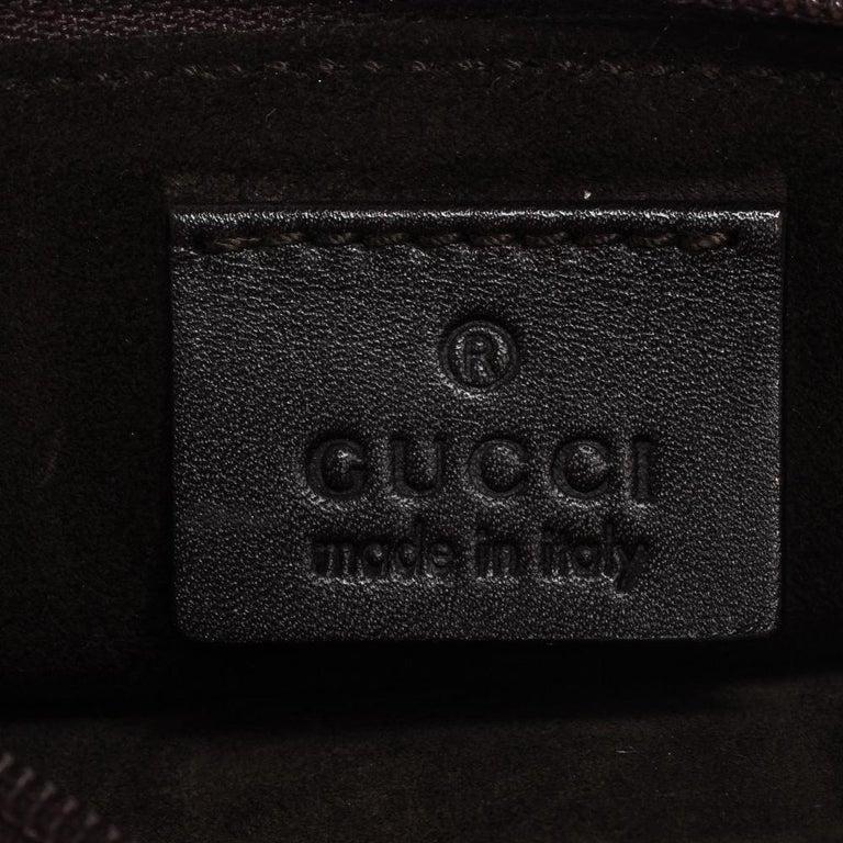 Gucci Dark Brown Leather Vintage Metal Handle Shoulder Bag For Sale 5