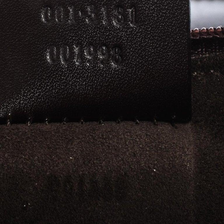 Gucci Dark Brown Leather Vintage Metal Handle Shoulder Bag For Sale 6