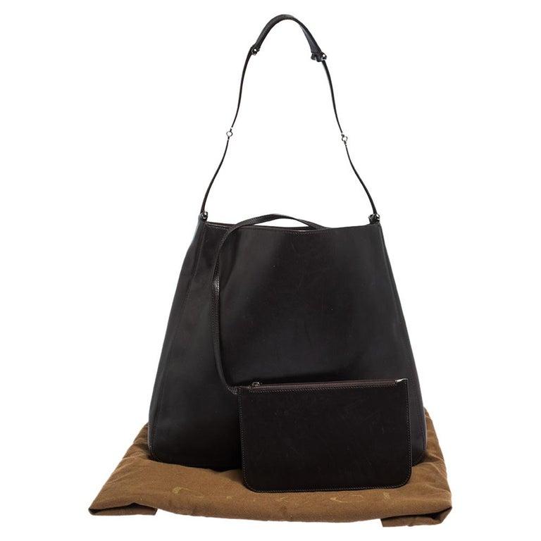Gucci Dark Brown Leather Vintage Metal Handle Shoulder Bag For Sale 7