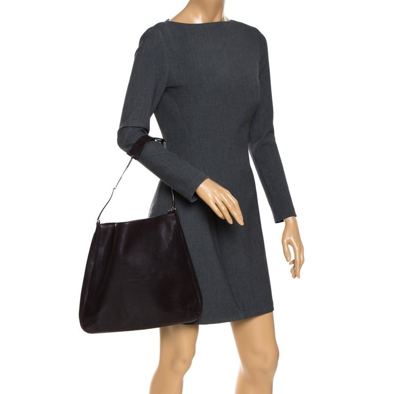Black Gucci Dark Brown Leather Vintage Metal Handle Shoulder Bag For Sale