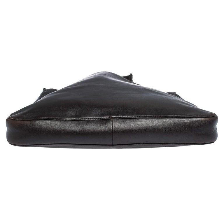 Women's Gucci Dark Brown Leather Vintage Metal Handle Shoulder Bag For Sale