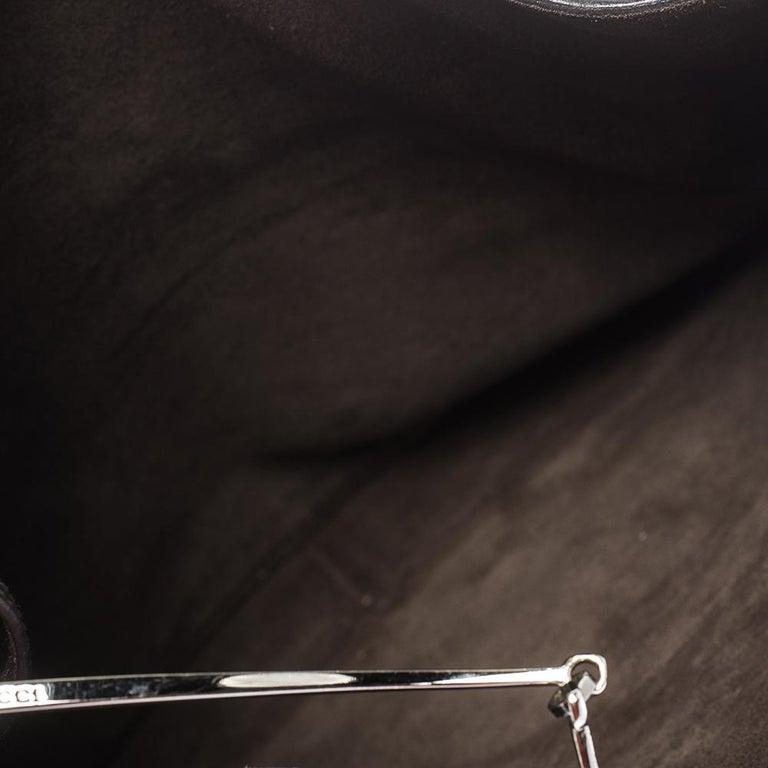Gucci Dark Brown Leather Vintage Metal Handle Shoulder Bag For Sale 4