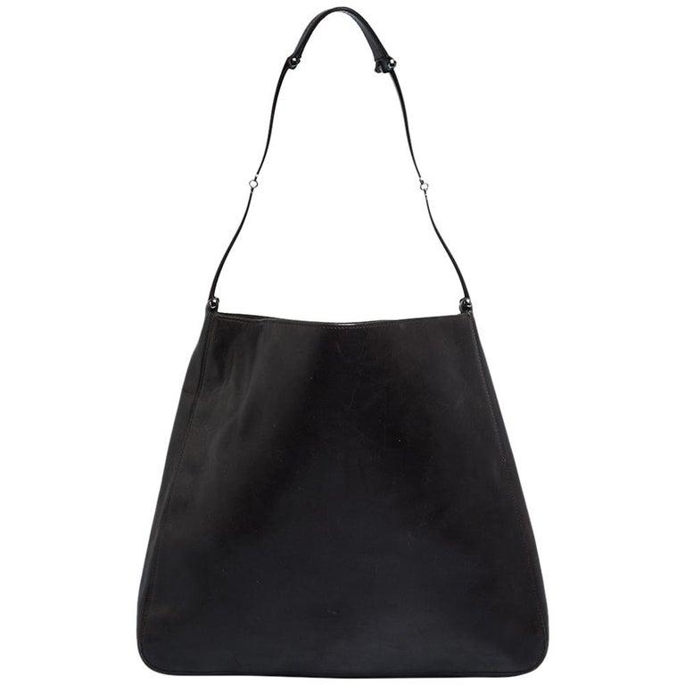 Gucci Dark Brown Leather Vintage Metal Handle Shoulder Bag For Sale