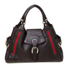 Gucci Dark Brown Leather Web Heritage Tote