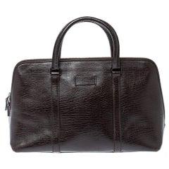 Gucci Dark Brown Leather Zip Satchel