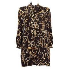 GUCCI dark brown silk HORSE BIT PUSSY BOW Shift Dress 38 XS