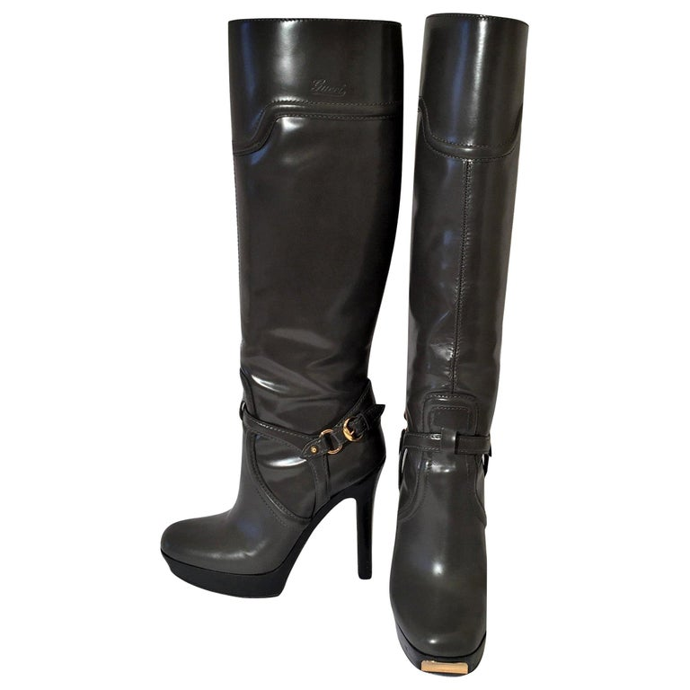 Gucci Dark Gray Leather Platform Boots Sz 6 For Sale