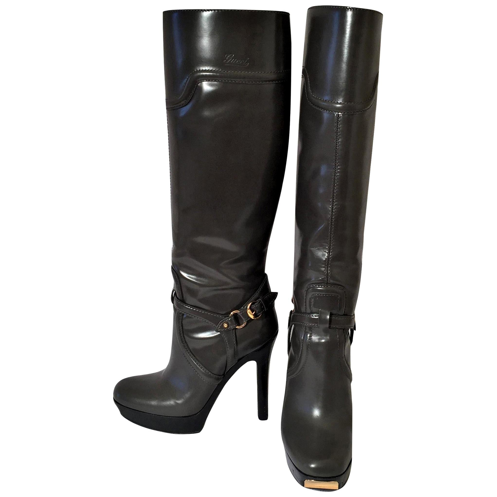Gucci Dark Gray Leather Platform Boots Sz 6