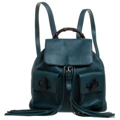 Gucci Dark Green Leather Bamboo Sac Backpack