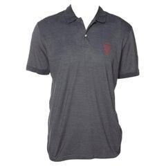 Gucci Dark Grey Cotton & Silk Pique Knit Polo T-Shirt XXL