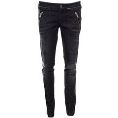 Gucci Dark Grey Faded Effect Denim Distressed Zip Detail Skinny Biker Jeans M
