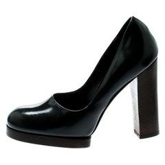 Gucci Dark Grey Leather Block Heel Pumps Size 37