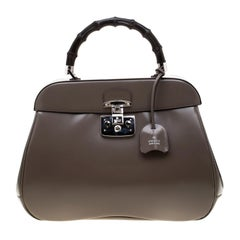 Gucci Dark Grey Patent Leather Lady Lock Bamboo Satchel