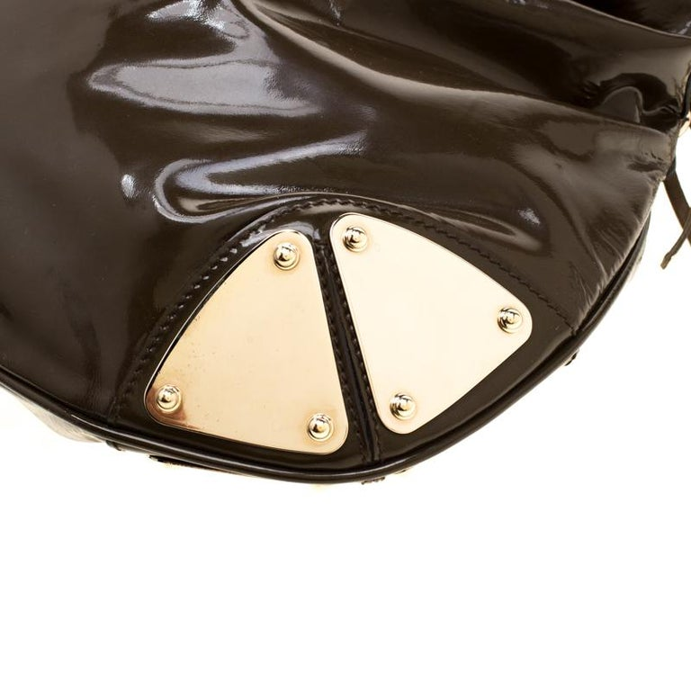Gucci Dark Olive Green Patent Leather Medium Babouska Indy Hobo 5