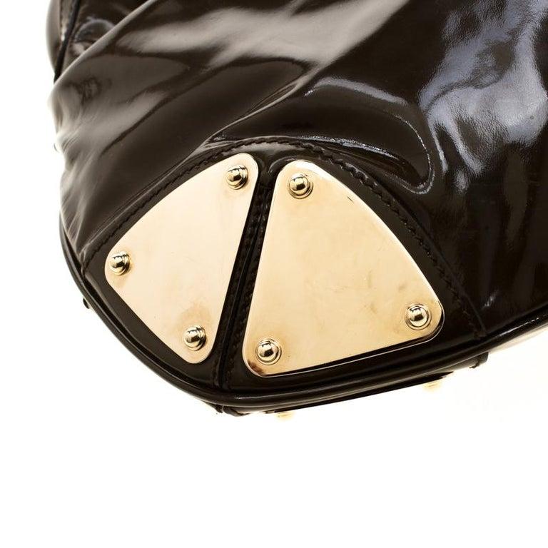 Gucci Dark Olive Green Patent Leather Medium Babouska Indy Hobo 6
