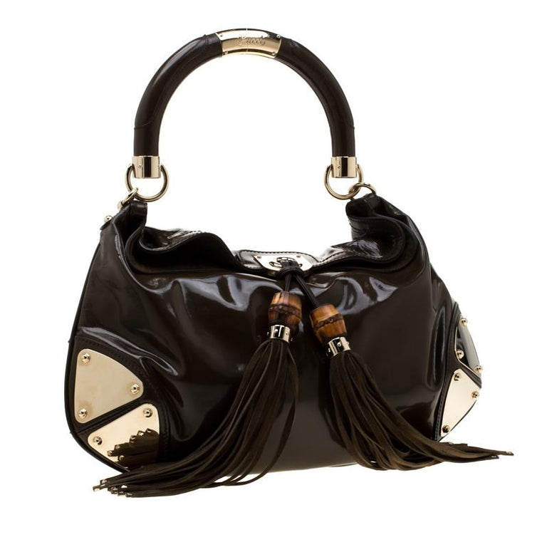 Gucci Dark Olive Green Patent Leather Medium Babouska Indy Hobo In Good Condition In Dubai, Al Qouz 2