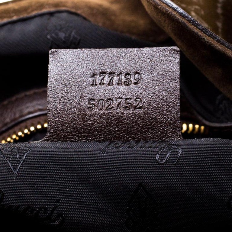 Gucci Dark Olive Green Patent Leather Medium Babouska Indy Hobo 1