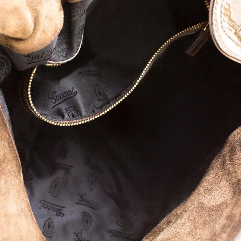 Gucci Dark Olive Green Patent Leather Medium Babouska Indy Hobo 3