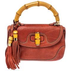Gucci Dark Orange Grain Leather Medium New Bamboo Top Handle Bag
