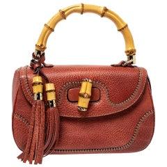 Gucci Dark Orange Grain Leather Tassel New Bamboo Top Handle Bag
