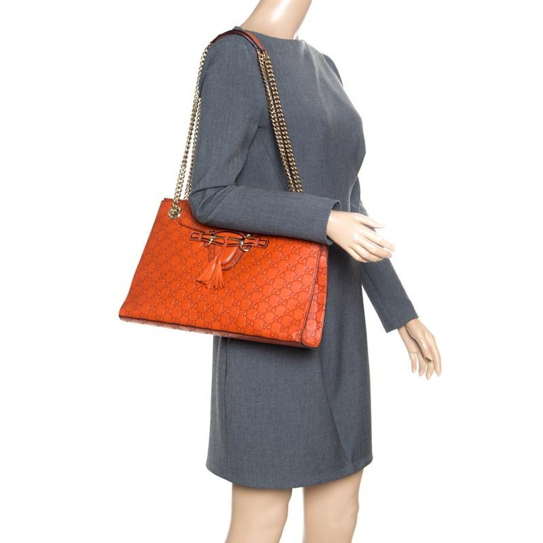 021d3a1a618 Red Gucci Dark Orange Guccissima Leather Large Emily Chain Shoulder Bag For  Sale