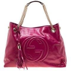 Gucci Dark Pink Patent Leather Medium Soho Tote