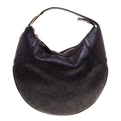 Gucci Dark Purple Horsebit Embossed Leather Buckle Hobo