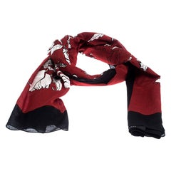 Gucci Dark Red and Black Floral Print Cotton Scarf