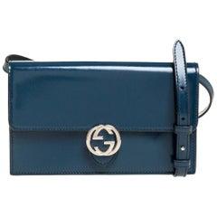 Gucci Dark Teal Leather Interlocking G Flap Clutch Bag