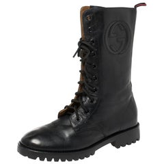 Gucci Deep Navy Leather Combat Boots Size 35