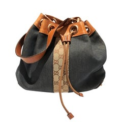 Gucci denim and leather bucket bag