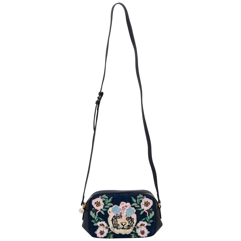 Gucci Denim Embroidered Crossbody Bag