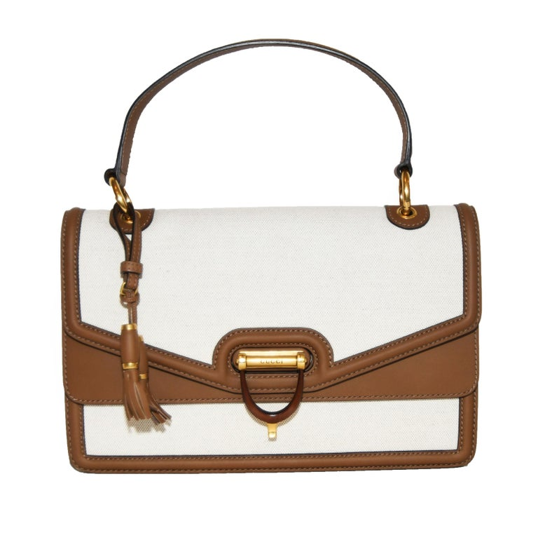 0a57f47bc2b Gucci Derby Canvas Beige and Brown Leather Trim Top Handle Bag For Sale