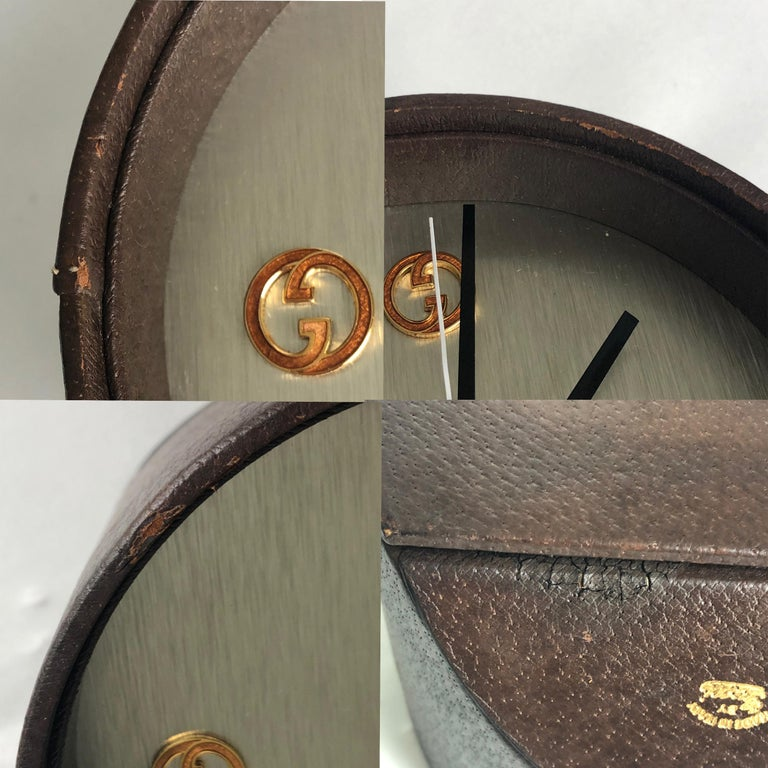 Gucci Desk Clock Pigskin Leather Vintage 80s Home Decor Interior Design  For Sale 6