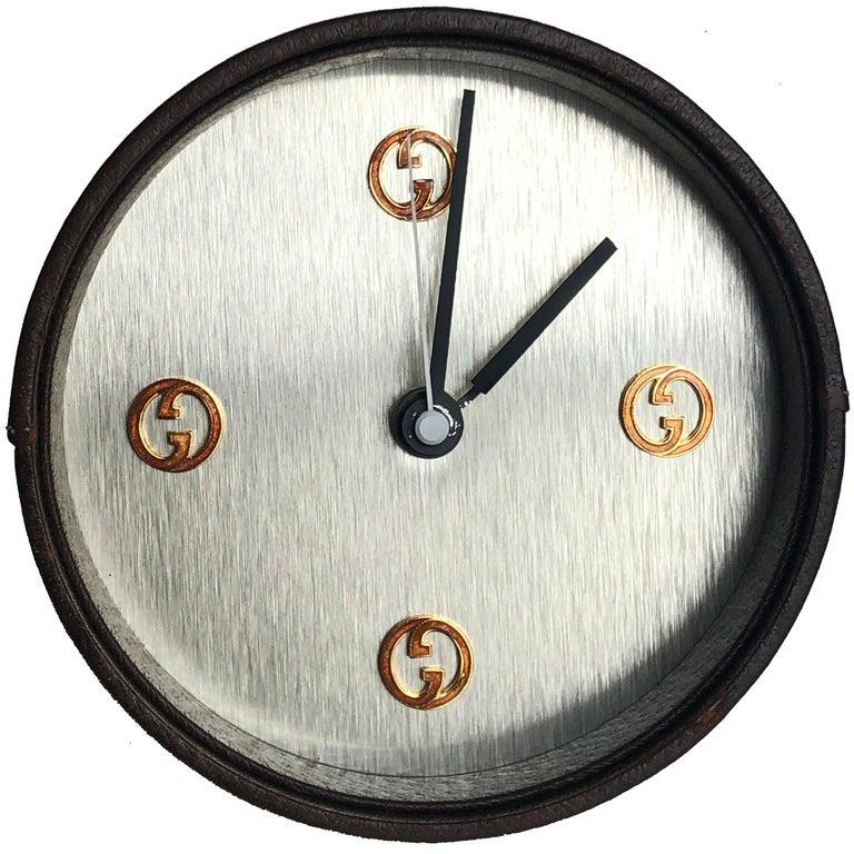 Gucci Desk Clock Pigskin Leather Vintage 80s Home Decor Interior Design  For Sale 1