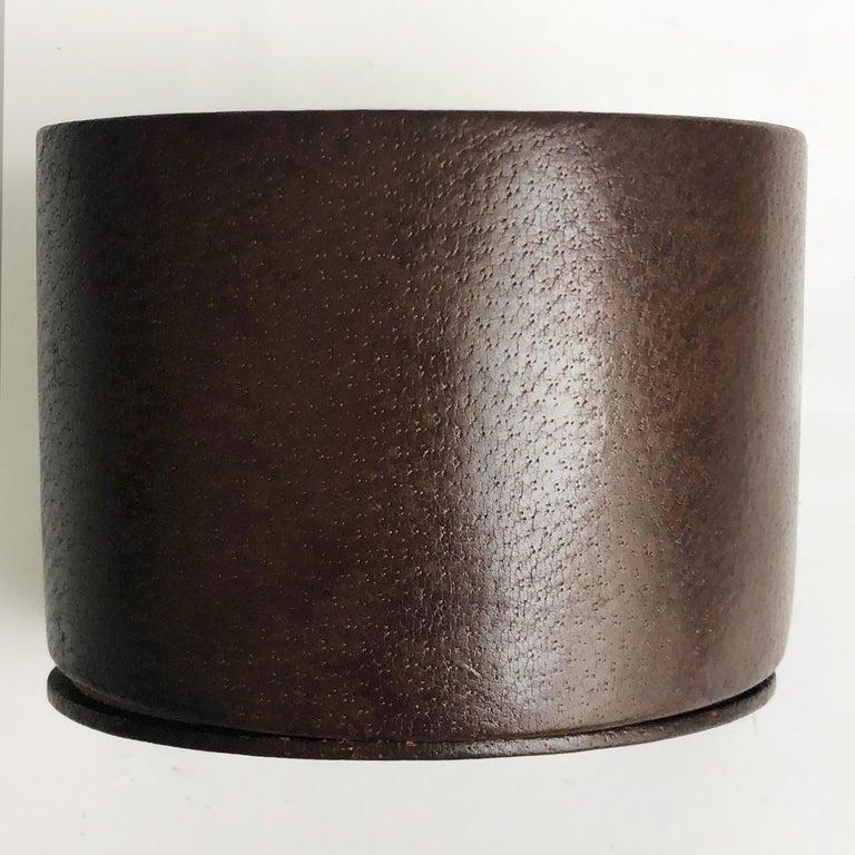 Gucci Desk Clock Pigskin Leather Vintage 80s Home Decor Interior Design  For Sale 3
