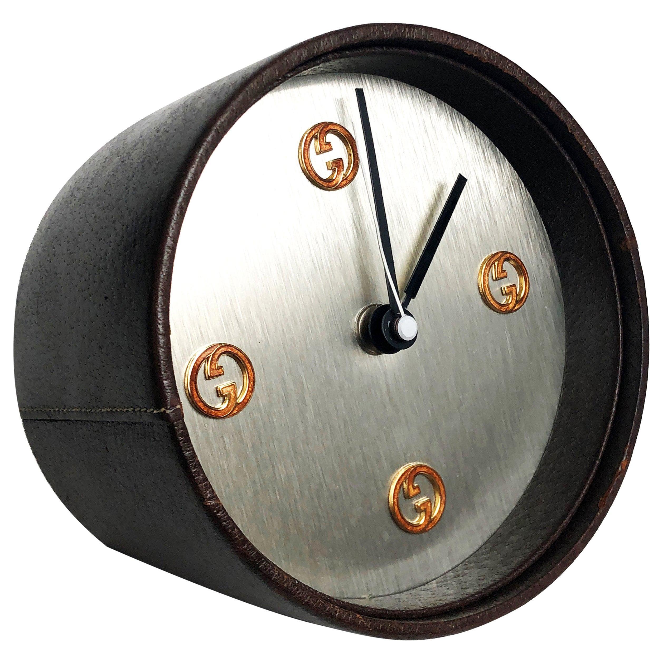 Gucci Desk Clock Pigskin Leather Vintage 80s Home Decor Interior Design