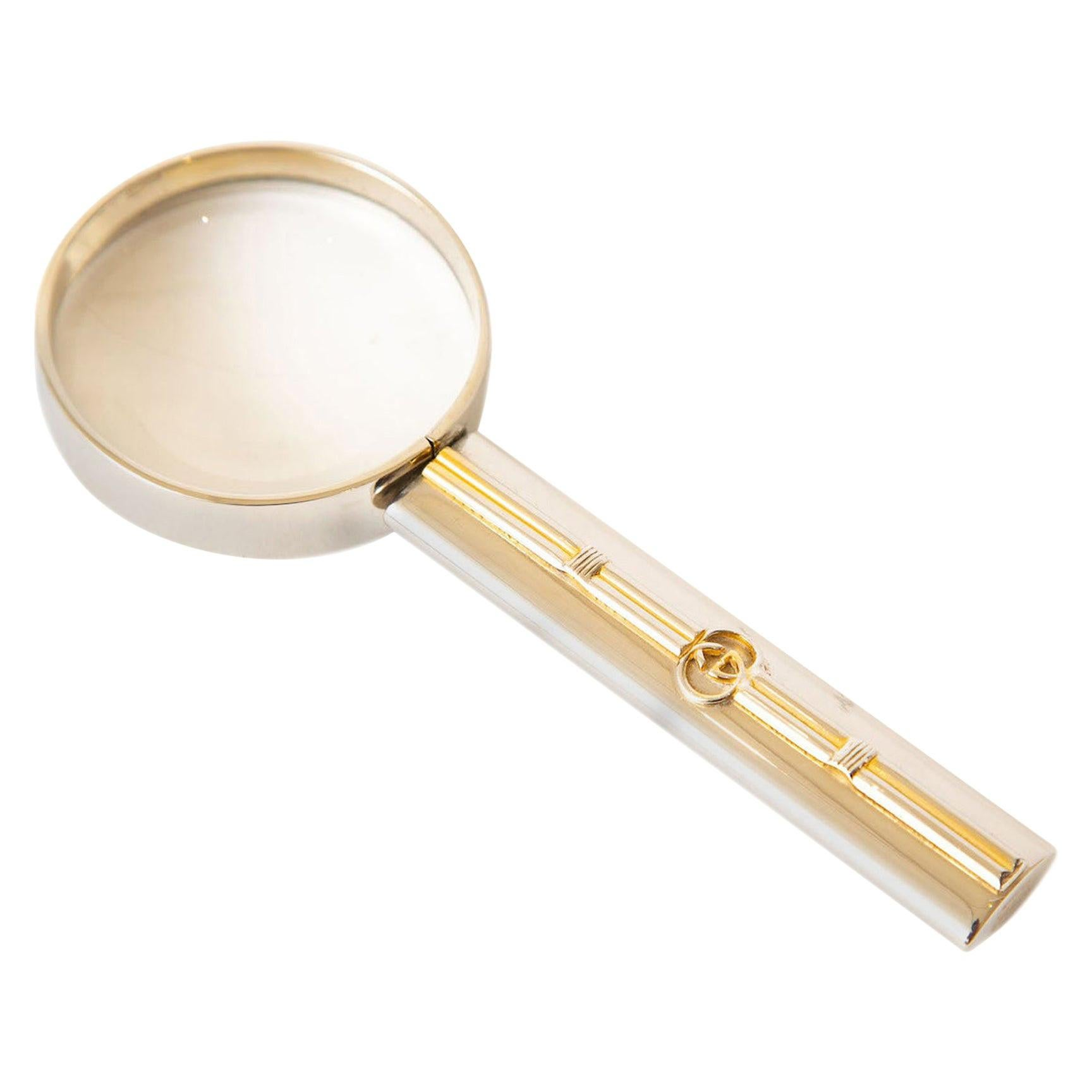 Gucci Desk Magnifier Silver-Plate with Gold Vintage Desk Accessory