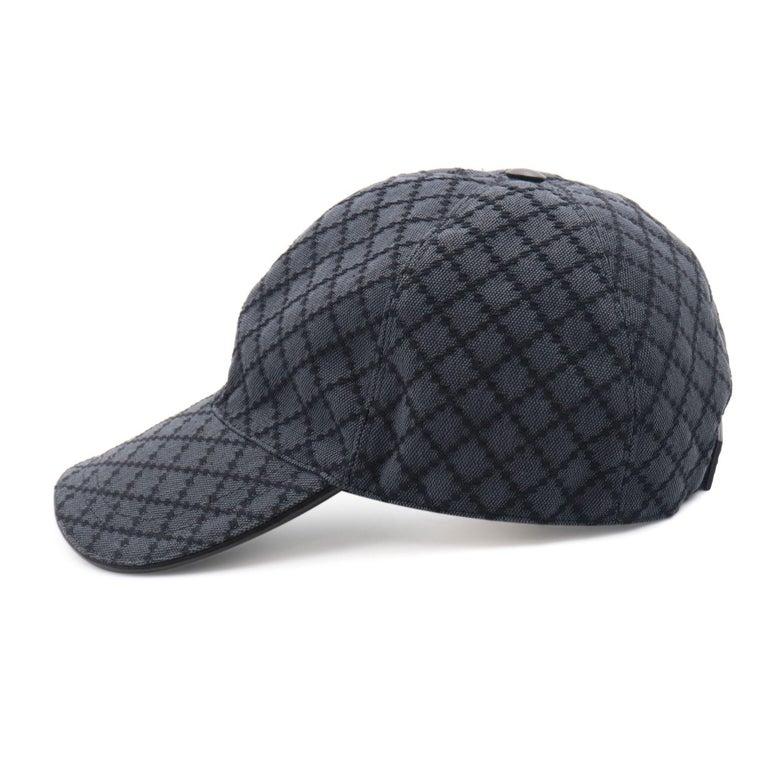 Gucci Diamante Gray / Black  Men's Baseball Hat XL For Sale 2