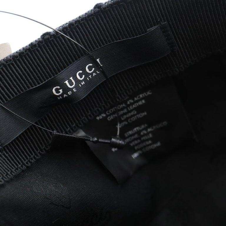 Gucci Diamante Gray / Black  Men's Baseball Hat XL For Sale 4