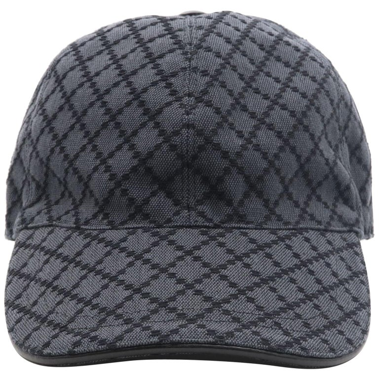 Gucci Diamante Gray / Black  Men's Baseball Hat XL For Sale