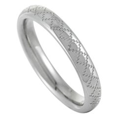 Gucci Diamantissima 18 Karat White Gold Thin Band Ring