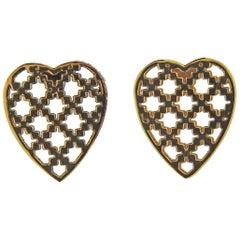 Gucci Diamantissima Gold Heart Stud Earrings