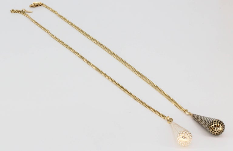 Gucci Diamantissima Pair of Enamel and Gold Pendant Necklace Chains In Excellent Condition For Sale In New York, NY